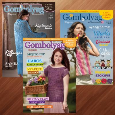 Gombolyag Magazin - Nyári számok (2015/02, 2017/02, 2018/02) - 3db